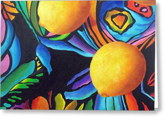 Psychedelic Lemons Greeting Card by Marina Petro