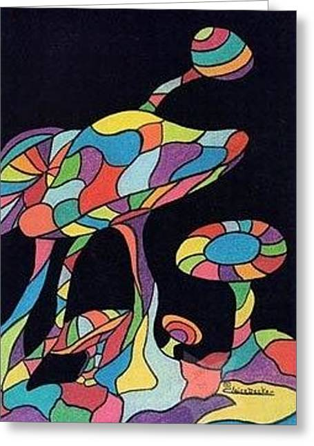 Psychedelic Mushrooms Greeting Card by Claire Decker