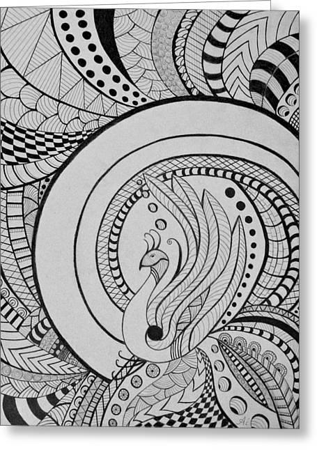 Zentangle Peacock Art Drawing Greeting Card