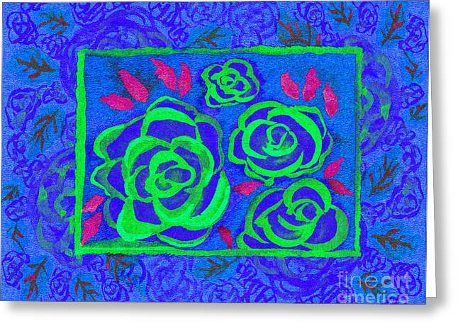 Psychedelic Roses - Summer Greeting Card