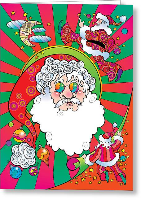 Psychedelic Santa Face Greeting Card
