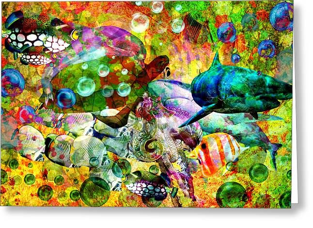 Psychedelic Sea Greeting Card by Ally  White