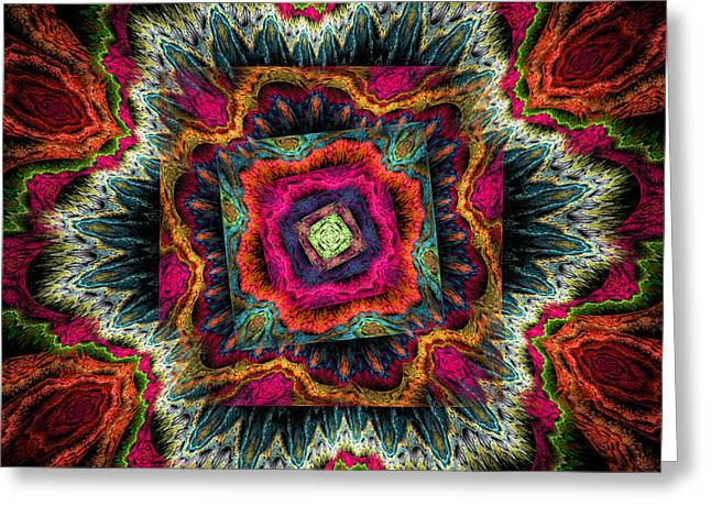 Psychedelic Spiral Vortex Pink Orange And Green Fractal Flame Greeting Card