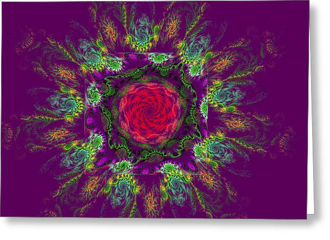 Psychedelic Spiral Vortex Purple Green And Pink Fractal Flame Greeting Card by Keith Webber Jr
