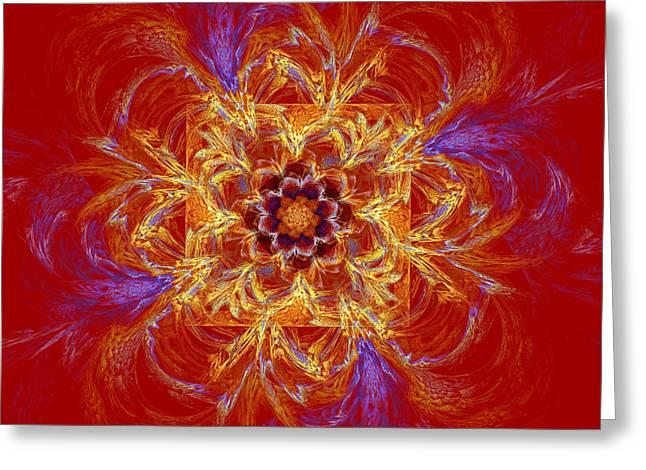 Psychedelic Spiral Vortex Red Orange And Blue Fractal Flame Greeting Card by Keith Webber Jr