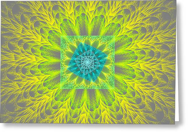 Psychedelic Spiral Vortex Yellow And Gray Fractal Flame Greeting Card by Keith Webber Jr