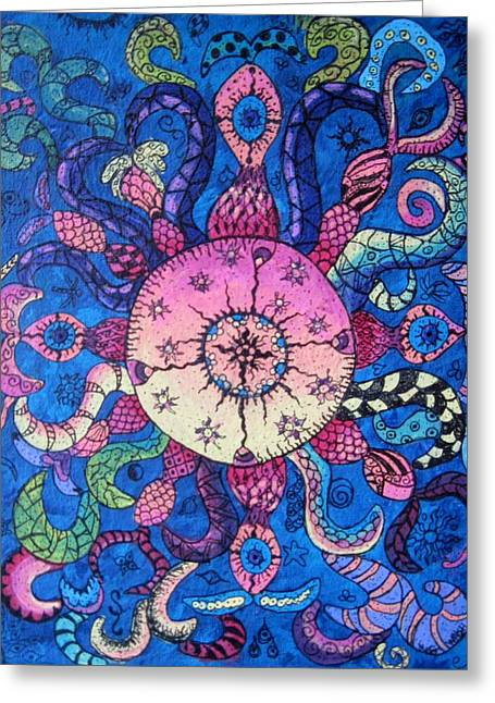 Psychedelic Squid Greeting Card by Megan Walsh