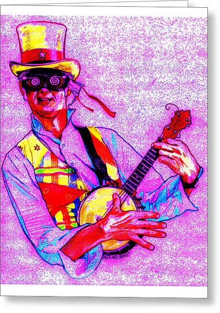 Psychedelic Steampunk Banjo Greeting Card
