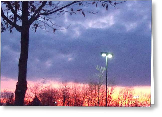 Psychedelic Sunset Greeting Card by Lyric Lucas