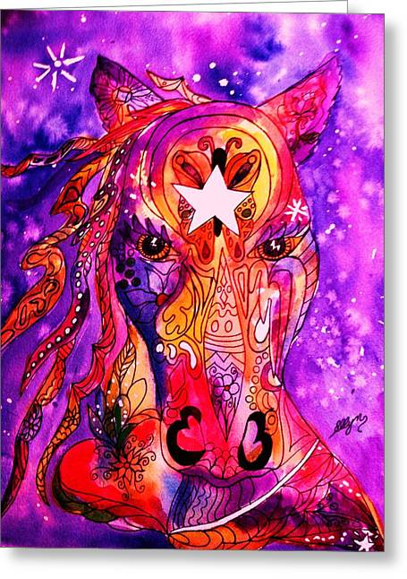 Psychedelic Tattooed Horse's Head Greeting Card by Ellen Levinson