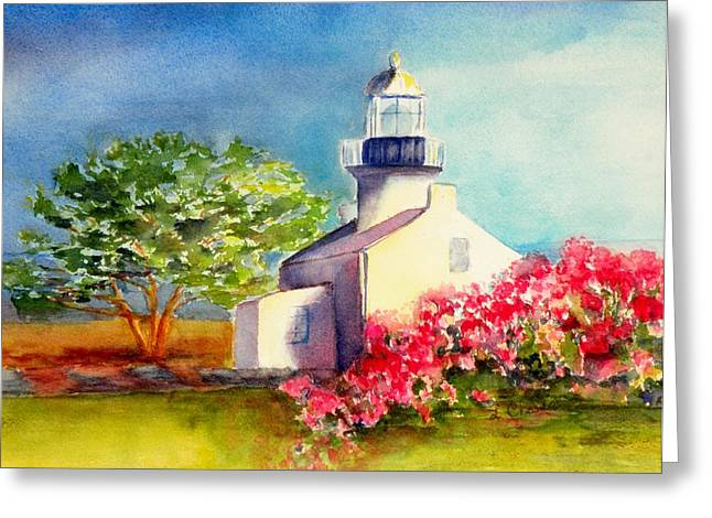 Pt Loma Lighthouse Greeting Card by Lori Chase