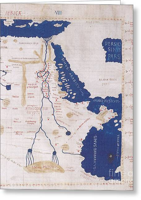 Ptolemys Map Of The Nile 2nd Century Greeting Card by Photo Researchers