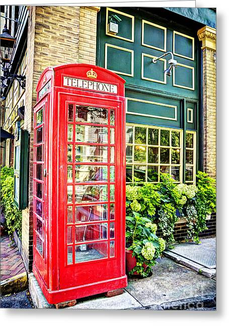 Pub British Telephone Booth Greeting Card by Joan McCool