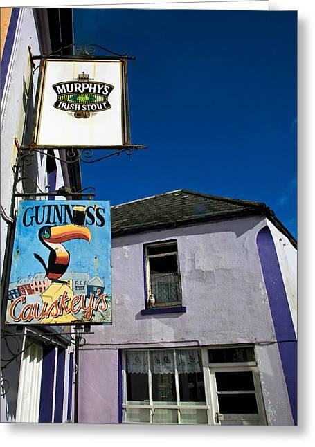 Pub Signs, Eyeries Village, Beara Greeting Card by Panoramic Images