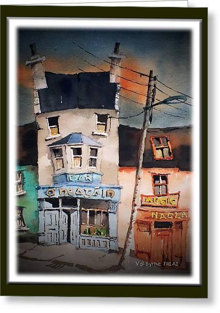 Pub Street 1 Greeting Card by Val Byrne