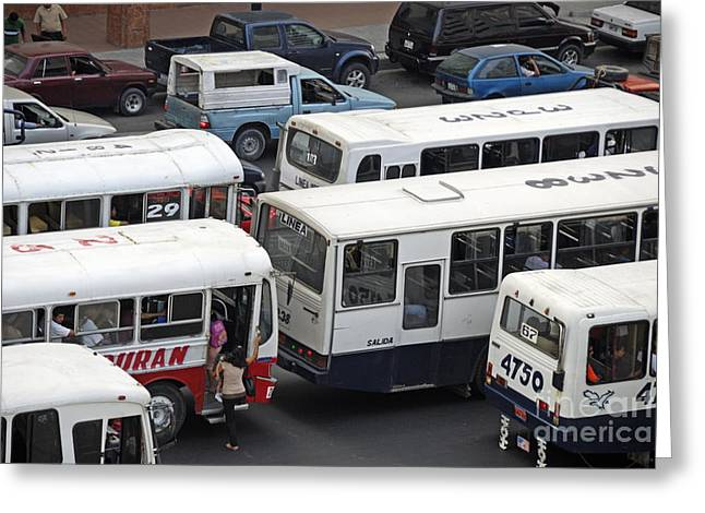 Public Buses In Traffic Jam Greeting Card by Sami Sarkis