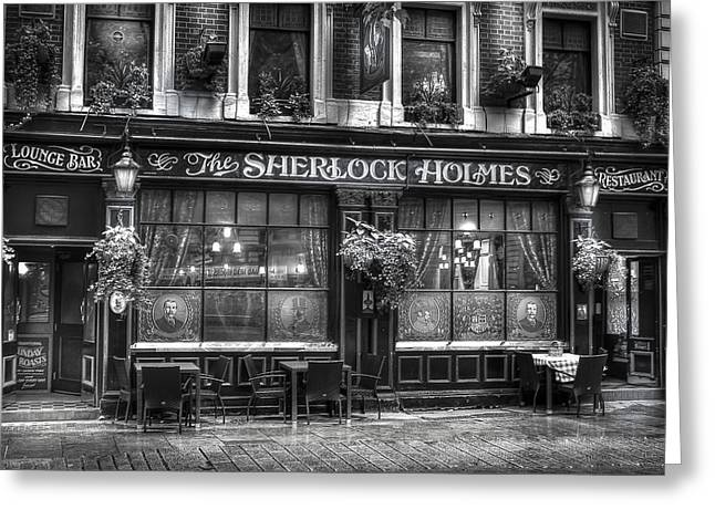 Public House Sherlock Holmes Greeting Card by S J Bryant
