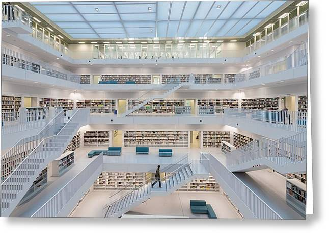 Public Library Stuttgart - Modern Architecture And Lots Of Books Greeting Card