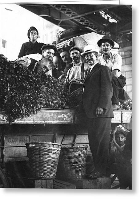Public Market Vegetable Stand Greeting Card by Underwood Archives