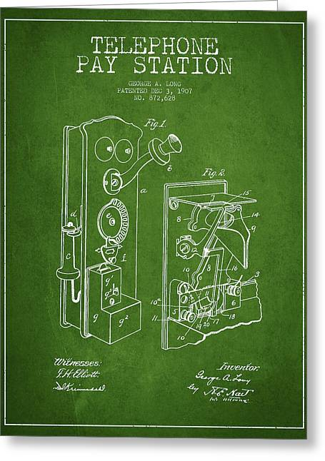 Public Telephone Patent Drawing From 1907 - Green Greeting Card by Aged Pixel