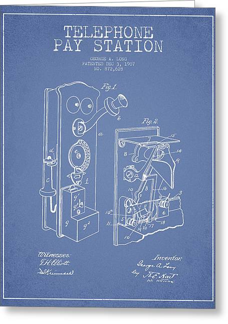 Public Telephone Patent Drawing From 1907 - Light Blue Greeting Card by Aged Pixel