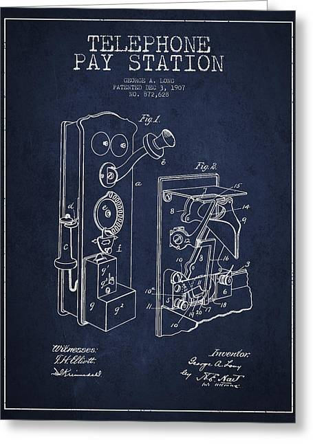 Public Telephone Patent Drawing From 1907 - Navy Blue Greeting Card by Aged Pixel