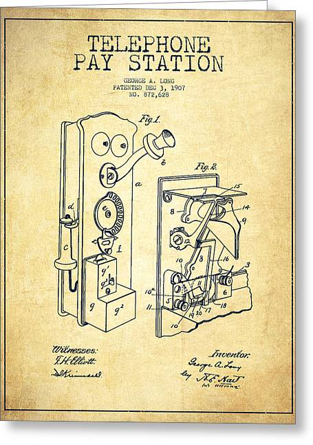 Public Telephone Patent Drawing From 1907 - Vintage Greeting Card by Aged Pixel