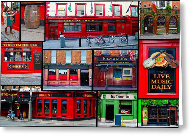 Pubs Of Dublin Greeting Card by Bill Cannon