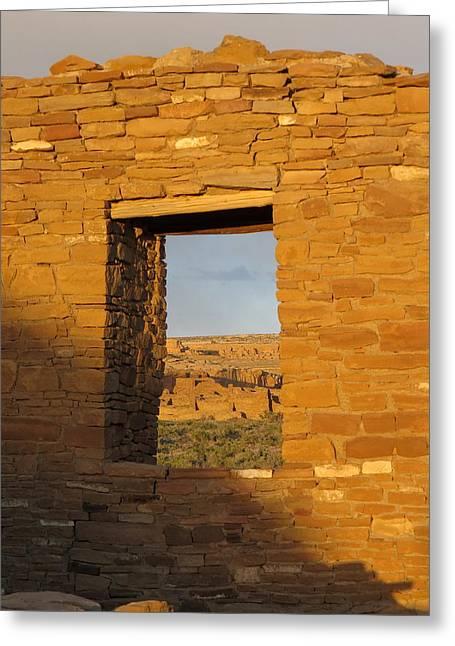 Pueblo Bonito Through A Doorway Greeting Card by Feva  Fotos