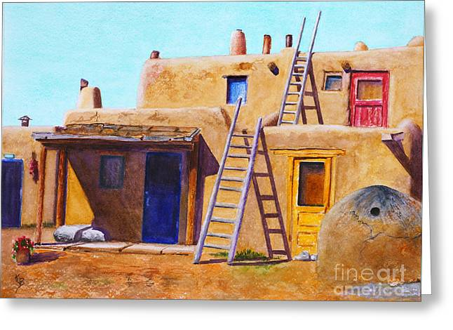 Greeting Card featuring the painting Pueblo by Karen Fleschler