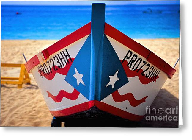 Puerto Rican Flag Painted Fishing Boat Greeting Card by George Oze