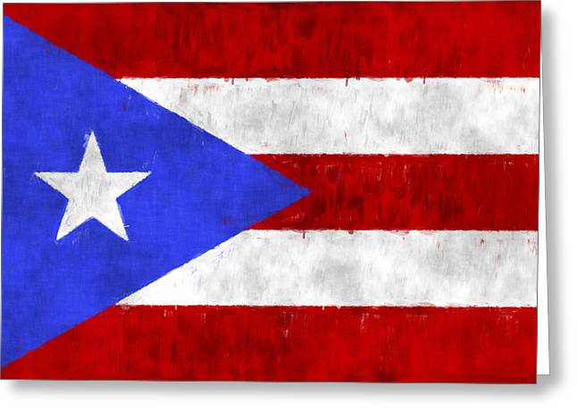 Puerto Rico Flag Greeting Card by World Art Prints And Designs