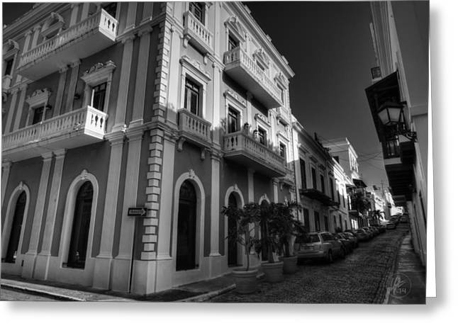 Puerto Rico - Old San Juan 004 Bw Greeting Card by Lance Vaughn