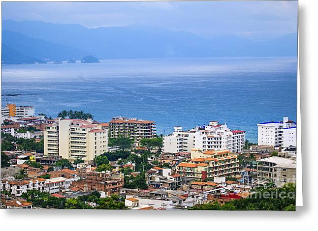 Puerto Vallarta And Blue Ocean Greeting Card by Elena Elisseeva