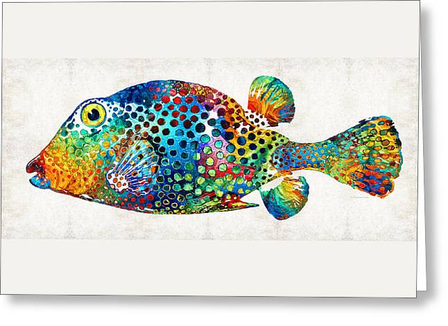 Puffer Fish Art - Puff Love - By Sharon Cummings Greeting Card