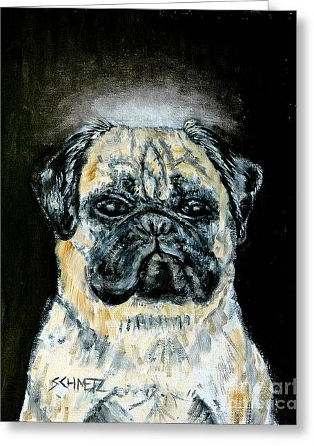 Pug Angel Greeting Card by Jay  Schmetz