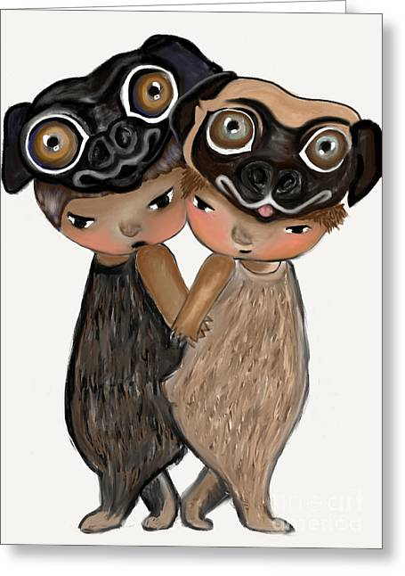 Pug Brothers Greeting Card by Beatrice Ajayi