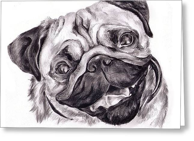 Pug Greeting Card by Cassandra Gallant