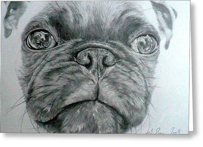 Pug Greeting Card by Kelly Brown