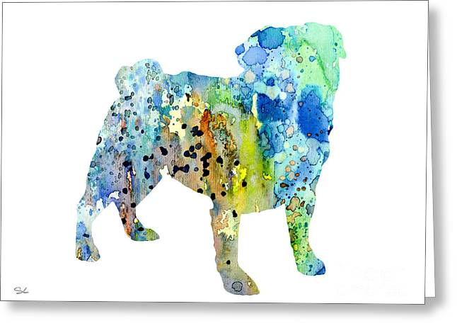 Pug Greeting Card by Watercolor Girl