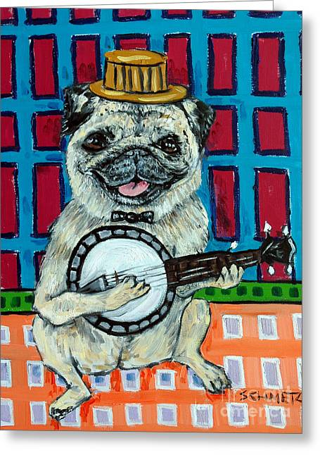 Pug Playing Banjo Greeting Card by Jay  Schmetz