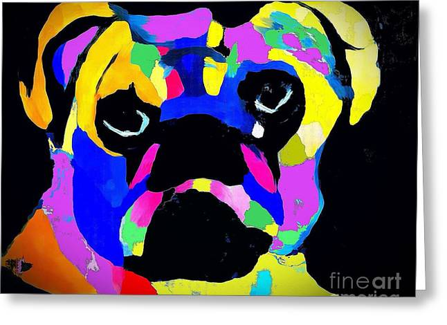 Pug Power Impression Greeting Card by Saundra Myles
