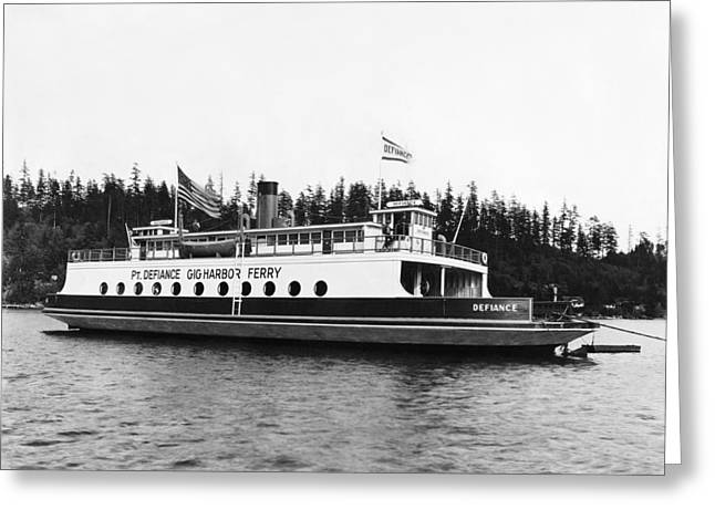 Puget Sound Ferry Boat Greeting Card by Underwood Archives