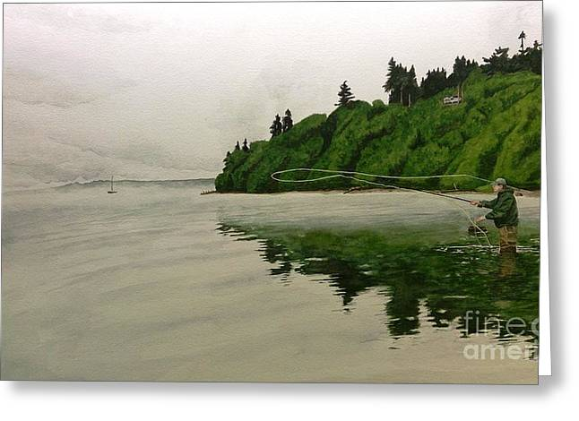 Puget Sound On The Fly Greeting Card by Jason Bordash