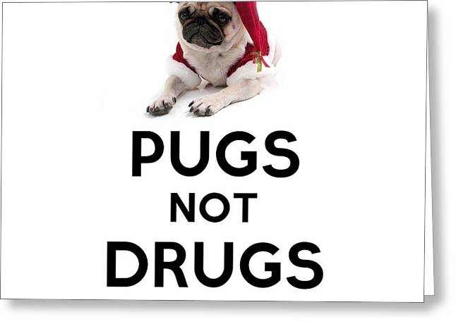 Pugs Not Drugs Greeting Card by Celestial Images