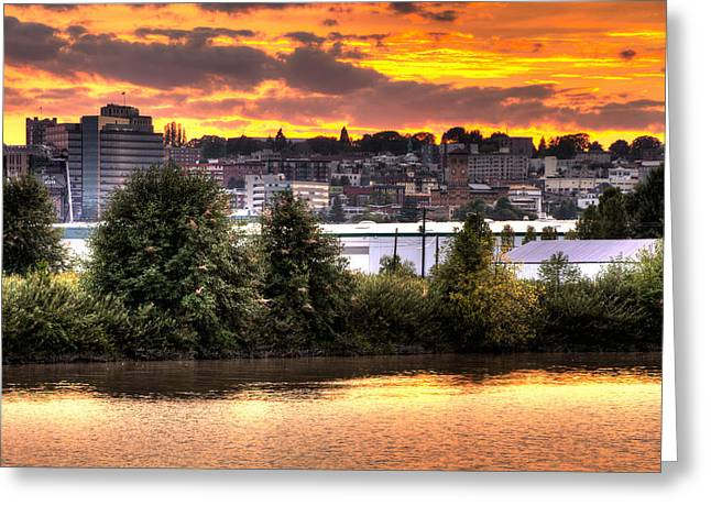 Pulallup River Sunset II Greeting Card