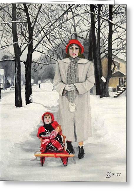 Pull My Sled Greeting Card by Janet Guss