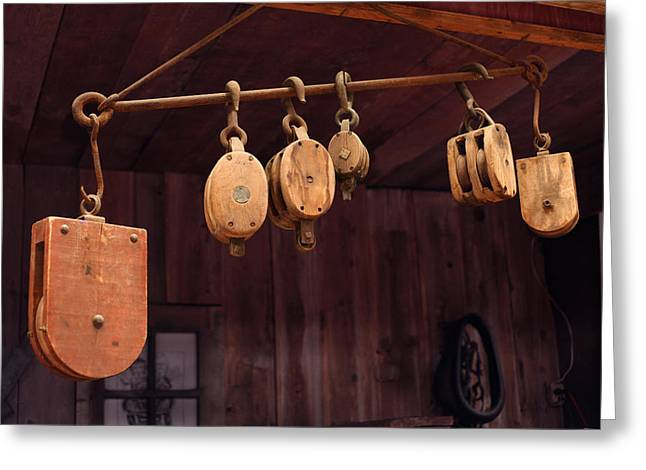 Pulleys Greeting Card by Mike Flynn