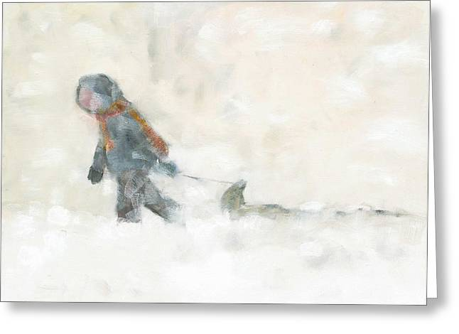 Pulling The Toboggan Home Greeting Card by David Dossett