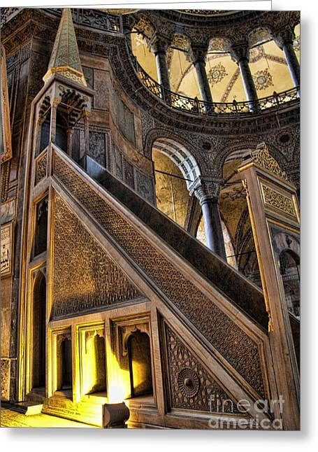 Hagia Sofia Greeting Cards - Pulpit in the Aya Sofia Museum in Istanbul  Greeting Card by David Smith